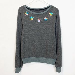 Wildfox Charcoal Star Print Fuzzy Pullover Medium